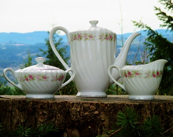 Dansico Tea House Rose Coffee Set - Coffee Pot, Sugar Bowl, and Creamer - Japan Coffee Set