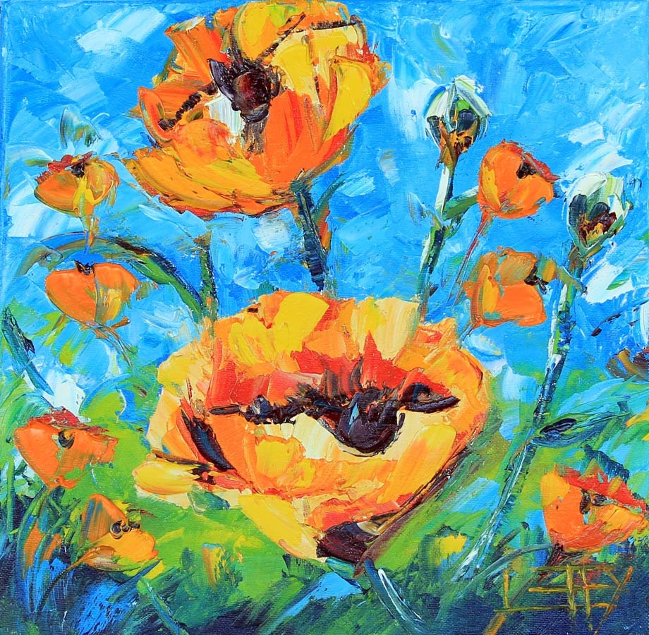 Abstract Poppy Art Yellow Poppy Painting Floral by ...