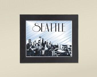 Instant Download, Printable, Seattle Washington Version 2 Poster Art Skyline Cityscape 8x10, an Elegant Gift or Enhance Your Home Decor