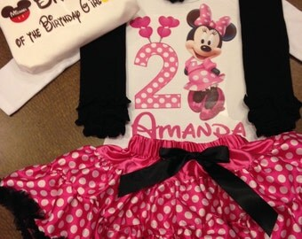 Minnie mouse birthday outfit, pink minnie birthday, hot pink minnie birthday outfit, brother mickey shirt