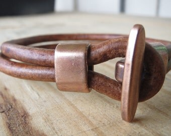 """9"""" Men's Leather and Copper Bracelet - Rustic Leather & Copper Jewelry for Him"""