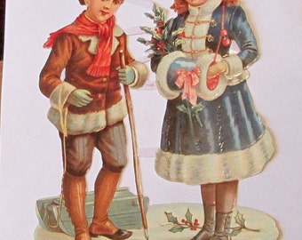 New German Victorian lg children Winter Christmas pretty beautiful die cuts diecuts scraps embellishments sheet ef 7106 scrapbooking cards