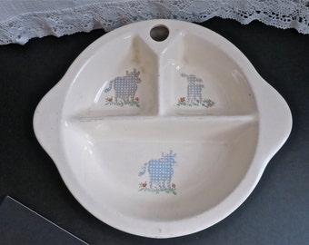 Vintage 1940s Excello Porcelain Baby/Toddler Dish- Toddler Dish-Cow and Lamb- EPSTEAM