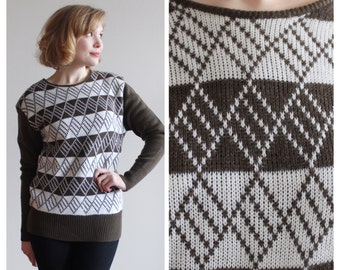 Brown and White Diamond Sweater * Knit 60s Sweater * Size S-M
