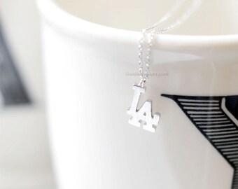 Los Angeles Necklace Silver, LA necklace, LA Dodgers Initials Necklace
