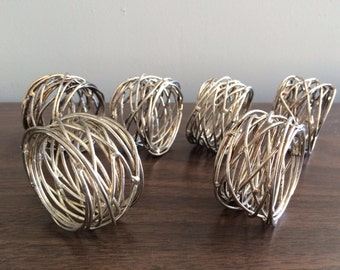 Silverplated Sculptural Modernist Wire Napkin Ring Holders , Set Of Six