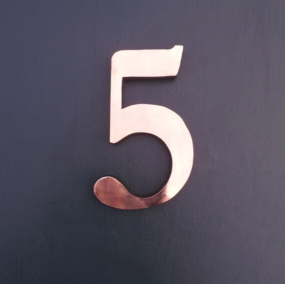 Large copper 3d house number in garamond by for Large 3d numbers