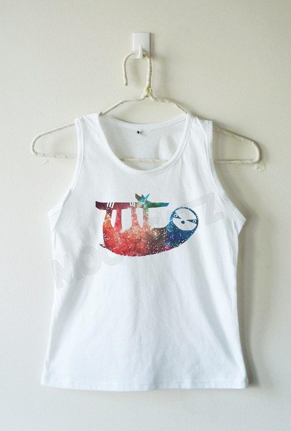Galaxy sloth shirt sloth tshirt funny tshirt animal tshirt for Galaxy white t shirts wholesale