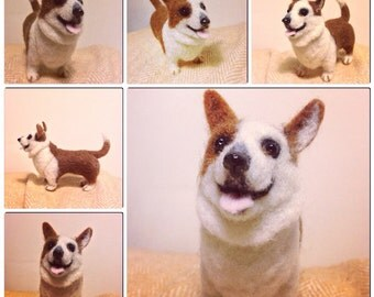Custom Needle Felted Miniature Corgi Dog Portrait