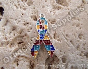 Autism Awareness Ribbon Charm 20mmx15mm- 4 Pcs (ASD107)