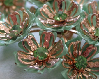 Vintage Parure Necklace Bracelet Earrings Green Enamel Flowers Rhinestones Gold Plated