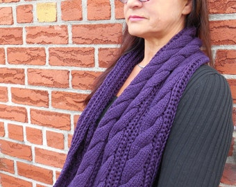 Purple knit cable infinity scarf, fashion cowl scarf