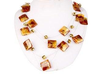 Statement Honey Comb Strand Bead necklace