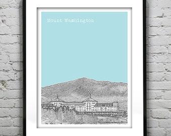 Mount Washington New Hampshire Art Print Poster Bretton Woods NH