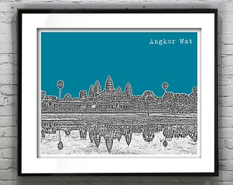 1 Day Only Sale 10% Off - Angkor Wat Cambodia Poster Print Skyline Travel Art Asia
