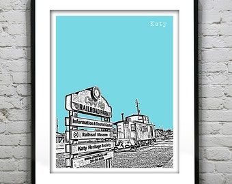 Katy Texas Texas Skyline  Print Art TX