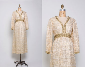 Vintage 1970s Gold Lurex Maxi Dress • Revival Vintage Boutique