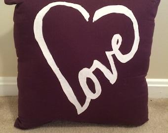 Decorative Pillow, Love Pillow, Throw Pillow, Purple Love Pillow