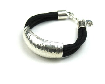 Silver Handmade Bracelet with Black Mokuba Cord, Sterling Hammered Tube, Lotus Flower & Silver Disc Charms
