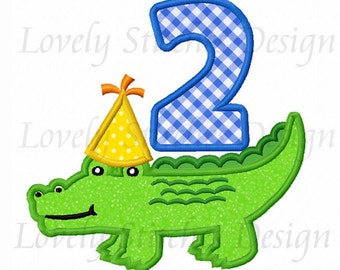 Alligator With Number 2 Applique Machine Embroidery Design NO:0257