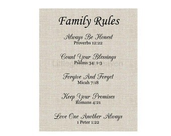 Family Rules Linen Print, house rules sign, family rules canvas, Christian family, burlap wall art, housewarming gift, house decor sign