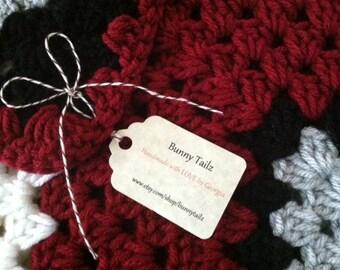 Crochet Lapghan Football Wrap Blanket Crochet Crimson White White Gray Black Special Occasion