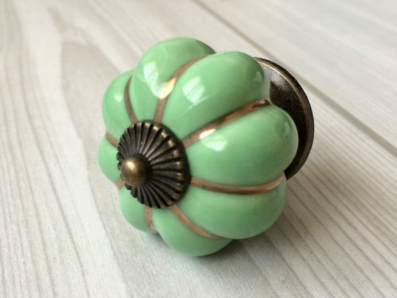 Green Cabinet Knobs Pumpkin Knobs Kitchen Dresser Knob Drawer