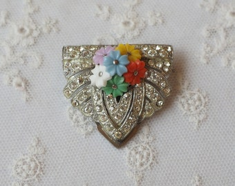 Lovely Vintage Dress Clip - Glass Flowers - Rhinestones