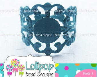 TEAL Blue Filigree RING BLANK Ring Base Ring Blanks 10 Fully Adjustable Plain Ring Shank Cabochon Setting 8mm Flat Pad Glue On Pad Diy