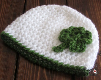 Newborn, 0-3 Month, Clover, Crochet, Beanie, St. Patrick's Day, Shamrock, Holiday, March 17, Hat, Baby, Handmade, Ready to ship