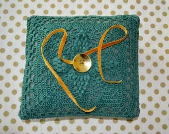 Olive Green Crochet Ring Bearer Pillow