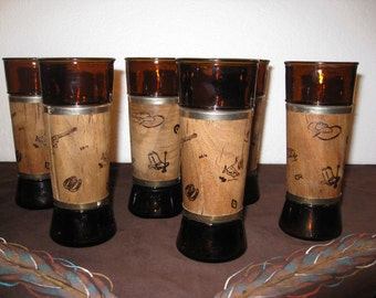 1960's Set Of 6 Large Amber And Brown Walnut Covered Western Glasses/ Tumblers/ Rustic Decor/ Country Western/ Mid Century Glassware