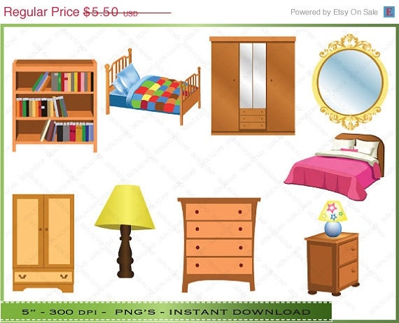 Furniture clipart clip art of bedroom by digitalclipartstore for Bedroom furniture 50 off