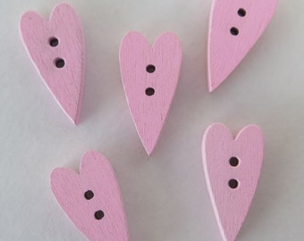 Buttons - Long Wood Heart Buttons - 5 pieces - 21x11mm - Pink - LHB1