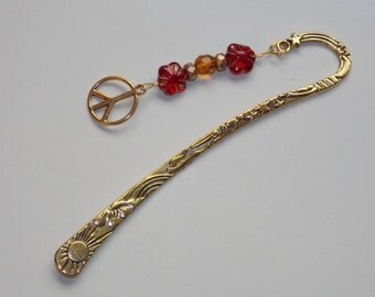 Red and Gold Peace Sign Gold Bookmark