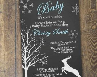 Winter Baby Shower Invitation Baby It's Cold Deer Invite Chalkboard Invitation Digital DIY Printable