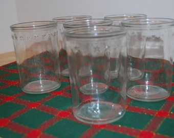 Vintage  Jelly Glasses (3), Juice Glass, Clear Glass with Stars