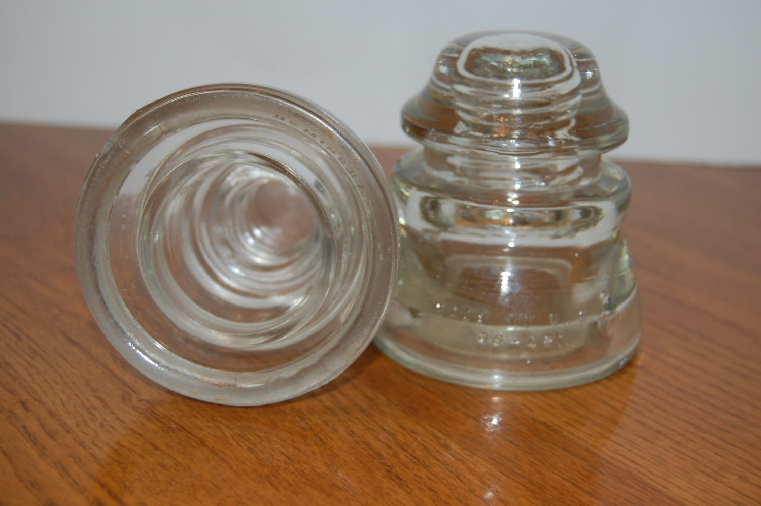 Vintage clear glass insulators 2 book ends craft supply for Glass insulators crafts