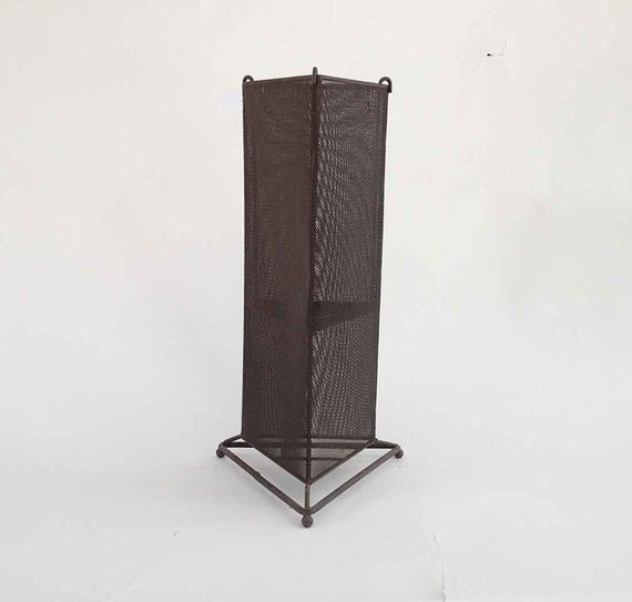 The Machinist Metal Mesh Tall Triangle Candle Holder Lantern Interior or Exterior: Vintage Home Decor