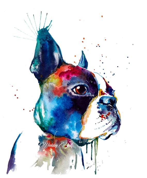 Colorful Boston Terrier Art Print Print Of My Original