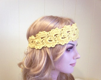 Yellow crochet headband with lacy design