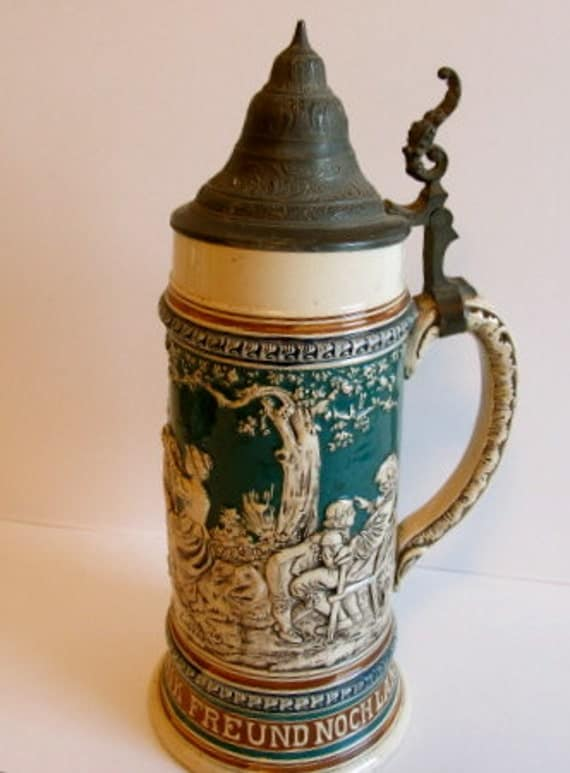 Antique German Beer Stein With Pewter Lid By Thesterlingstar
