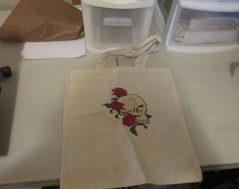 Skull and Roses Canvas Tote Bag