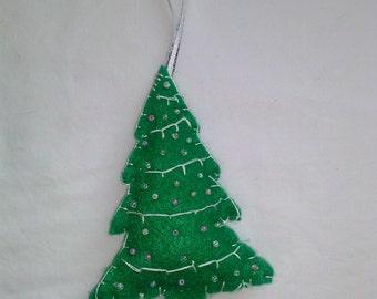 Hand made beaded  Eco felt Christmas tree ornament.