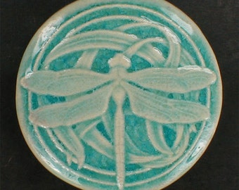 Wall tile, dragonfly tile, ceramic sculpture, 3 7/8 inches round, glossy light blue crackle glaze, art tile, accent tiles, handmade tiles