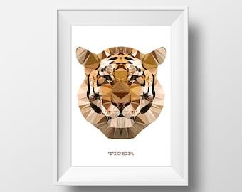 Digital Download Bengal Tiger Geometric Poster Print Art - Boys Room - 8x10, 11x14 Nursery Poster