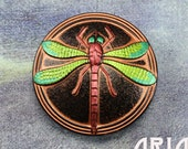 CZECH GLASS BUTTON: 41mm Dragonfly Handpainted Czech Glass Button, Pendant, Cabochon (1)