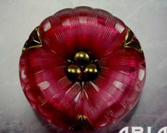 CZECH GLASS BUTTON: 36mm Handpainted Pansy Flower Czech Glass Button, Pendant, Cabochon (1)