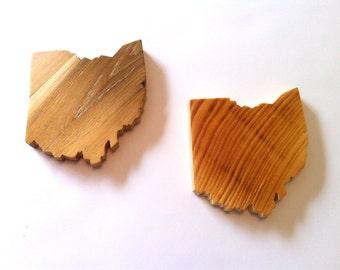 Solid wood Ohio drink coasters (set of 4)