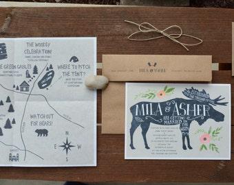 Rustic Moose Wedding Invitation Sample - Woodsy Wedding
